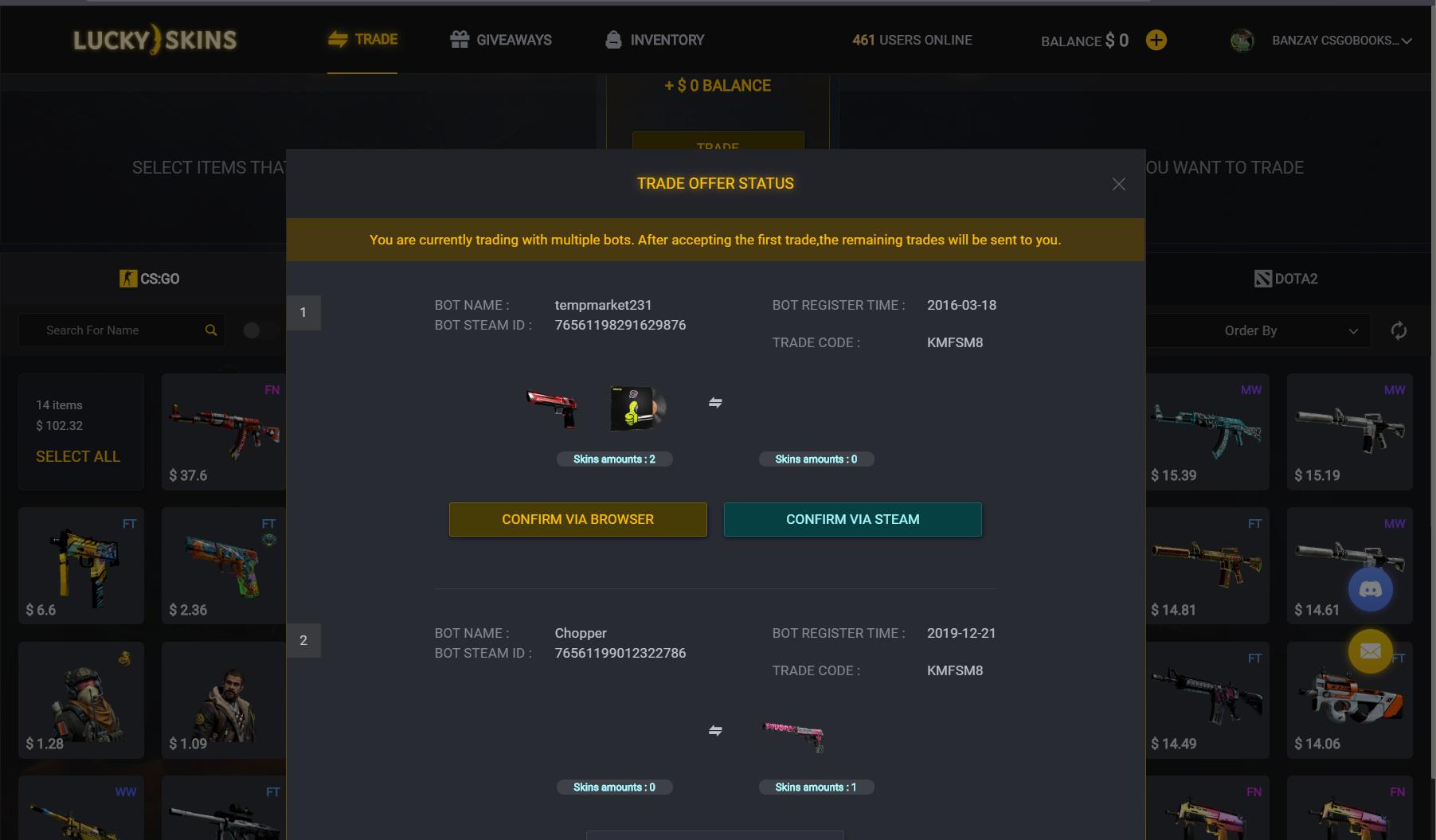 LuckySkins.net скам сайт, фейковый трейдбот, мошенники лакискинс