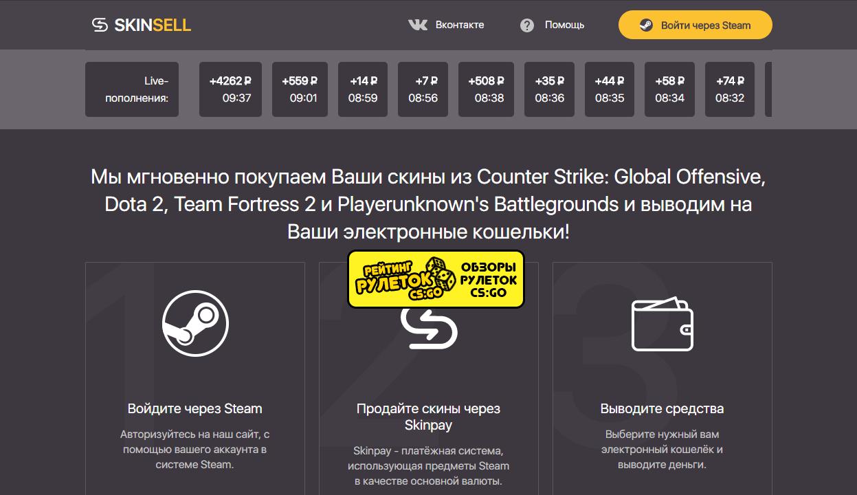 skinpay skinsell сайт для моментальной продажи скинов